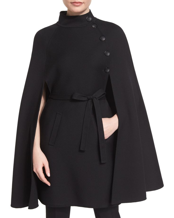Stand-Collar Belted Cape, Black, Size: 16 - Carolina Herrera
