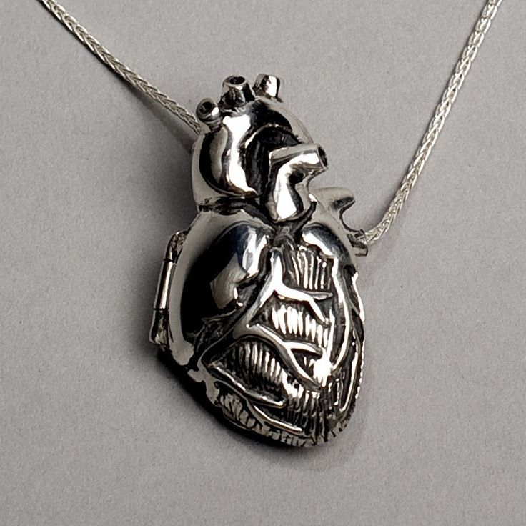 Original Silver Anatomical Heart Locket- 28 inch chain. $330.00, via Etsy.