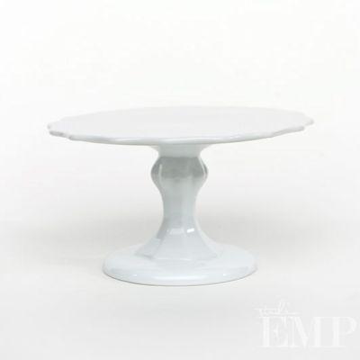 White Scalloped Stoneware Cake Stand