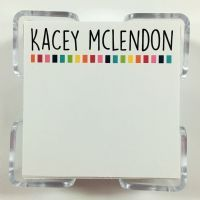 120 sheets 3.5 square personalized with the name of your choice at the top acrylic holder included