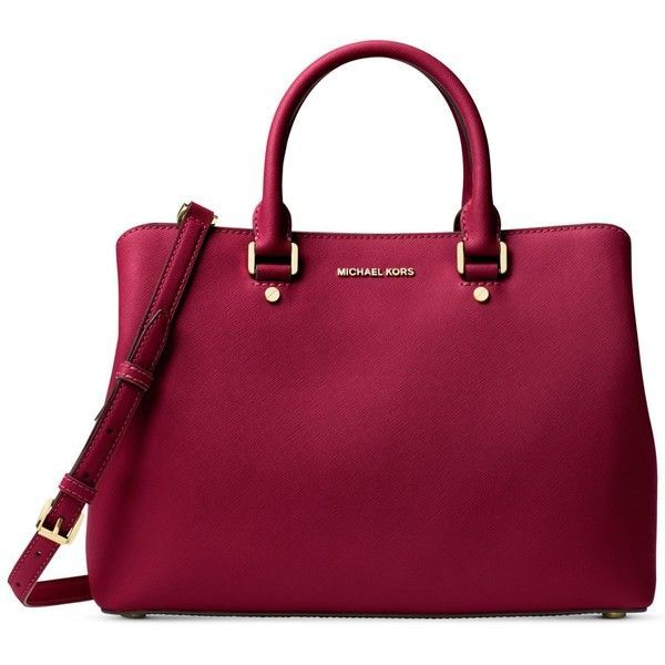 Michael Michael Kors Savannah Large Satchel ($368) ❤ liked on Polyvore featuring bags, handbags, cherry, structured satchel handbag, satchel handbags, pocket purse, handbag satchel and satchel bag