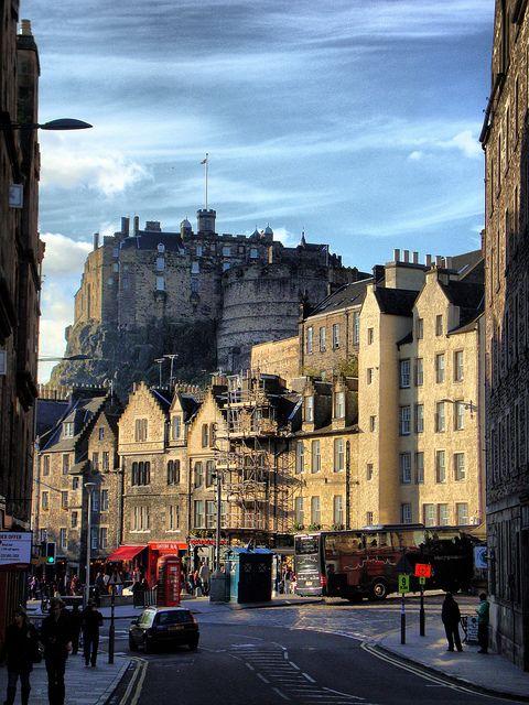 Edinburgh Castle from the Grassmarket,Edinburgh,Scotland.