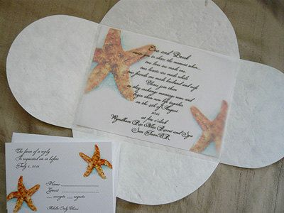 Custom Starfish and Turquoise Beach Wedding Invitations