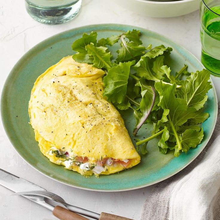 Smoked Salmon & Cream Cheese Omelet...The key to this healthy omelet recipe is cooking the eggs over low heat so the curds set up nice and soft. A splash of milk in the eggs is added insurance to keep the omelet from turning rubbery.