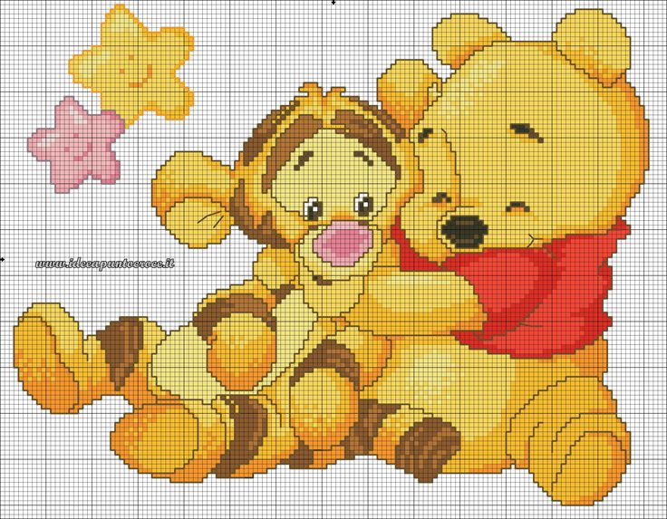 schema punto croce baby winnie pooh e tigro