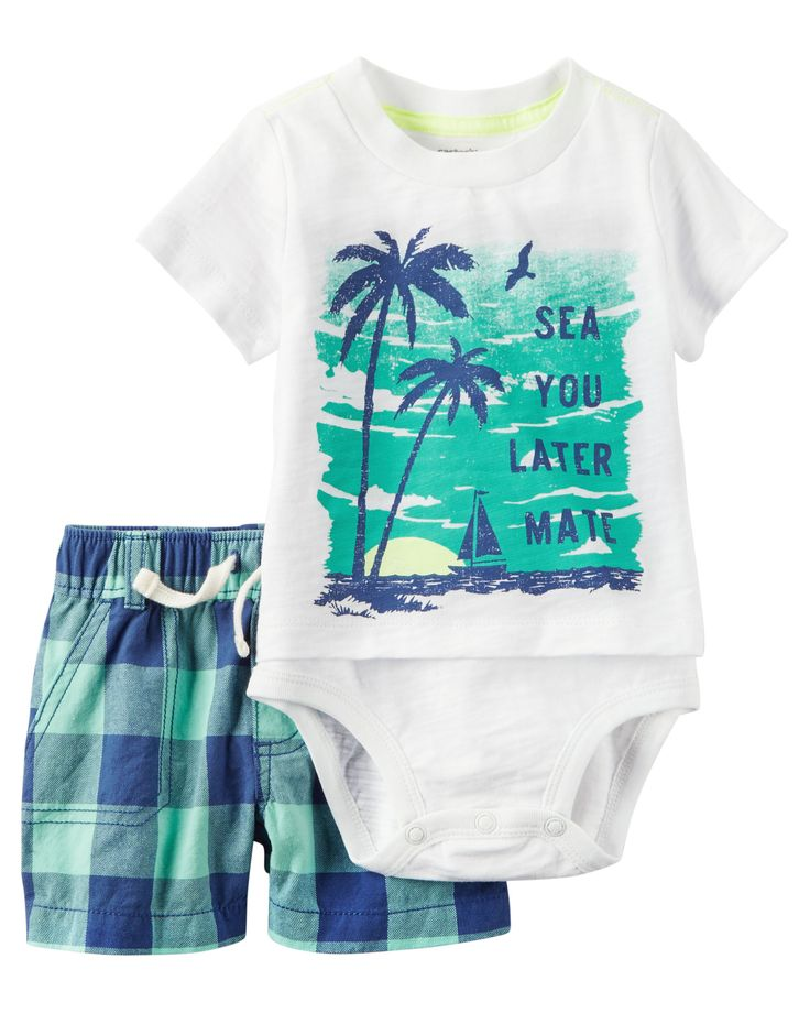 From the park to the pier, dressing is easy with this classic set. A layered bodysuit tucks handsomely into plaid shorts.