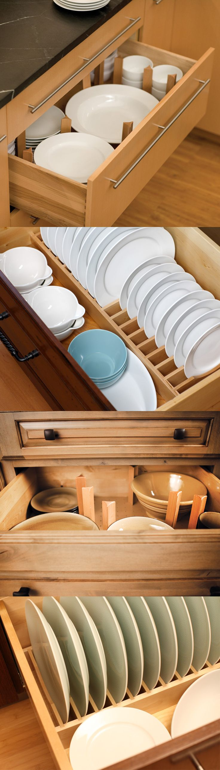 Tip! A dish rack drawer organizer can make dishes a cinch when next to the sink or dishwasher! They are also a safer solution for teaching children how to do the dishes and is wheel chair accessible. No more reaching over your head for breakable plates and bowls! - Dura Supreme Cabinetry