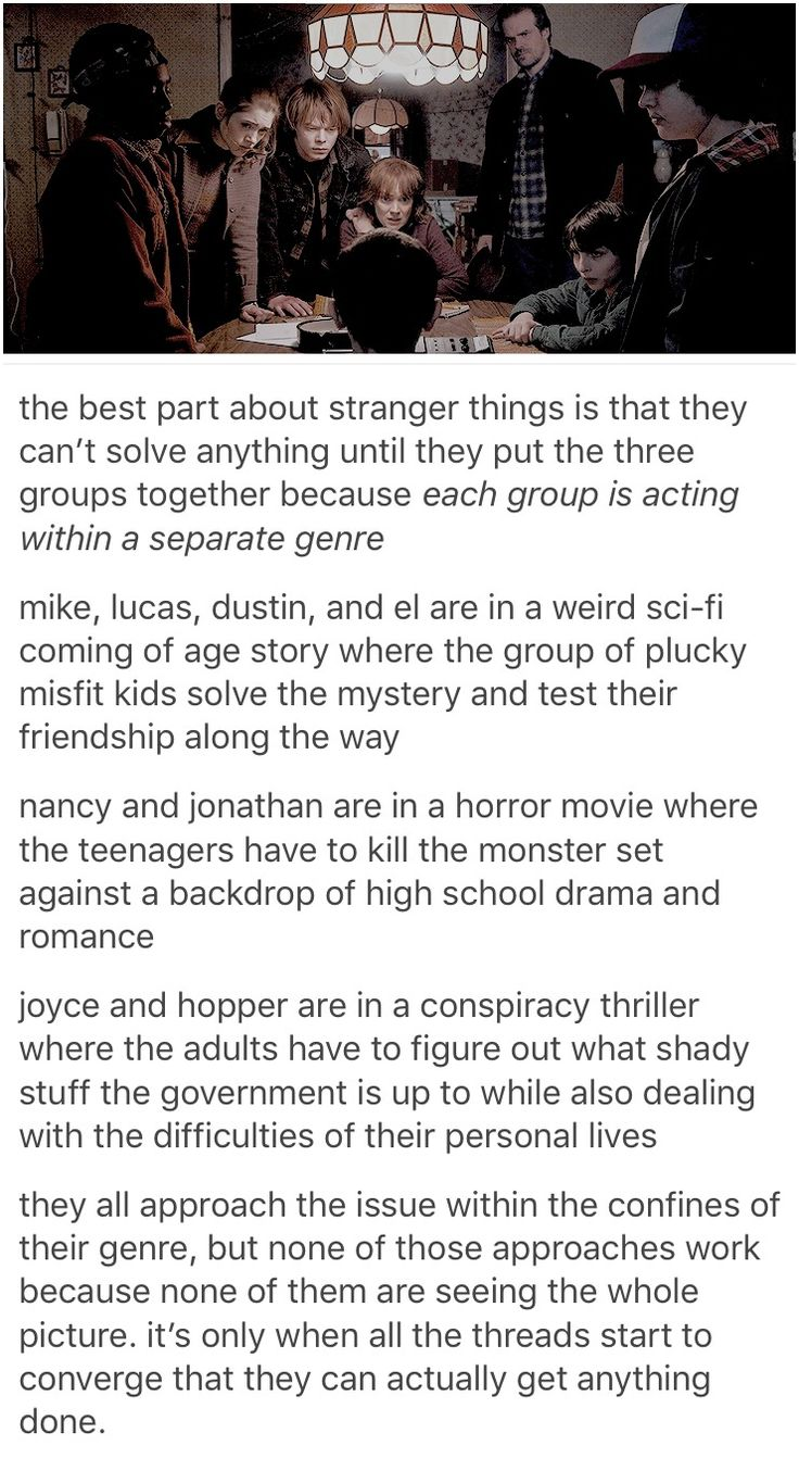 It was also just really cool knowing what each of them knew and seeing all three groups come to together and share information and learn the true story. I love this show.