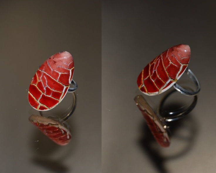 """red vase"" adjustable silver ring  Designed by Szasz Karoly Recycle of broken antique world famous porcelain from 19th century"