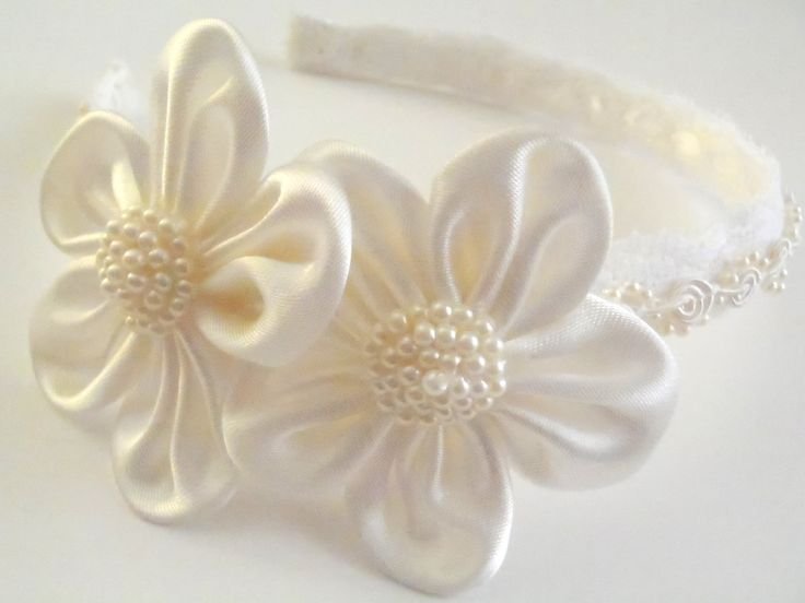 Flower girl, bridal, or first communion headband, vintage feel with gorgeous ivory and white with lace, satin and beaded trim. $18.00, via Etsy. #headband #first communion