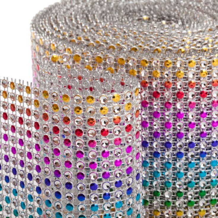 Rainbow Diamond Rhinestone Ribbon Wrap Roll