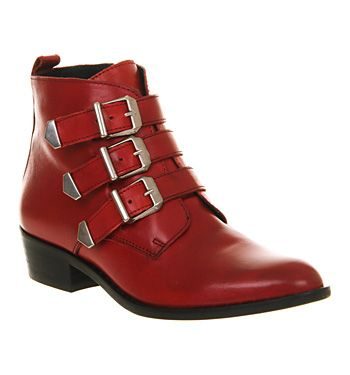 Office Breakout Red Leather - Ankle Boots