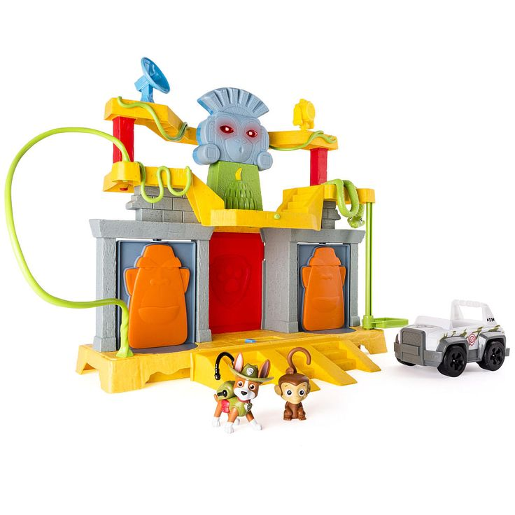 It's Tracker to the rescue in the Paw Patrol Monkey Temple Playset. This jungle-themed adventure includes the new Paw Patrol pup Tracker, his friend Mandy the Monkey, Tracker's vehicle and tons of fun! Move Tracker up the elevator, down the vines or through the trap door in his search for Mandy. Turn on the lights and sounds with the push of a button! Once the search is over, transform the Monkey Temple into a mission command center for the next mission! Collect all of the Paw Patrol Jungle…