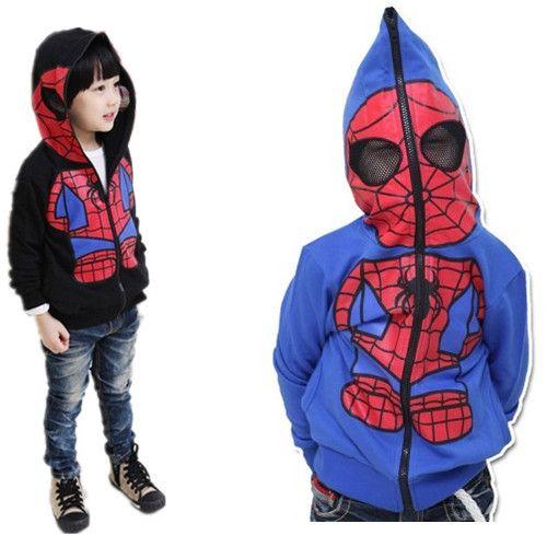 Boys Cartoon Jacket Children Spiderman Hoodie Baby Kids Cute Outerwear Clothing Coat Halloween Christmas Costume Free Shipping US $12.50 - 13.50