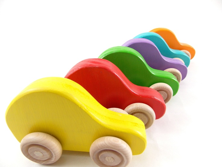 Colorful wooden cars