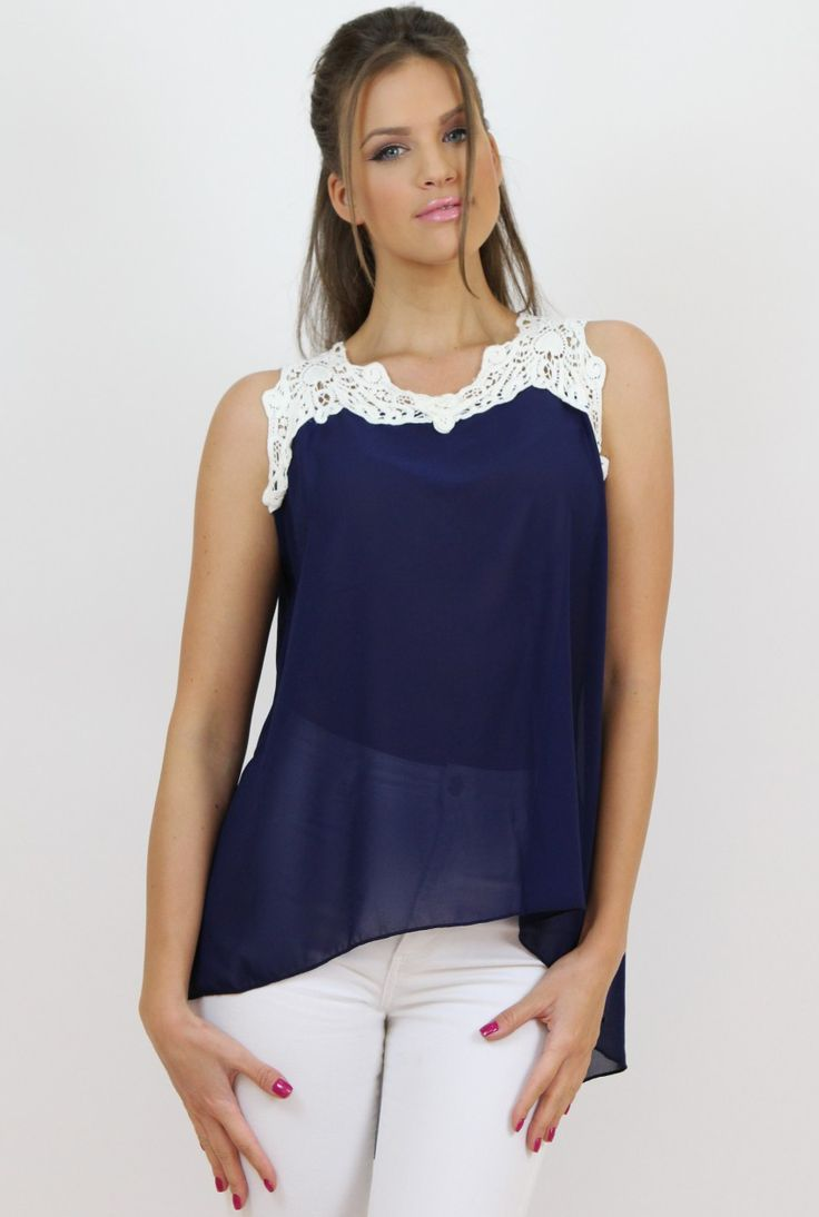 Blue Chiffon and Lace Top- www.famevogue.ro - perfect for an ultra-feminine outfit.  #tops #style #trends #fashion #casual #moda