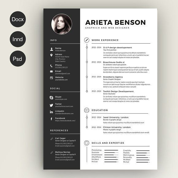 Clean Cv-Resume by Estartshop on @creativemarket Ready for Print Resume template examples creative design and great covers, perfect in modern and stylish corporate business. Modern, simple, clean, minimal and feminine layout inspiration to grab some ideas.