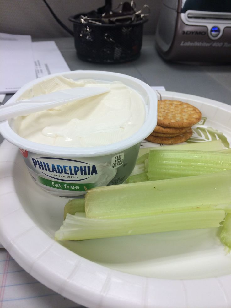 Fat free cream cheese, celery and crackers for breakfast. Added an apple and a cup of tea and I made it to lunchtime.