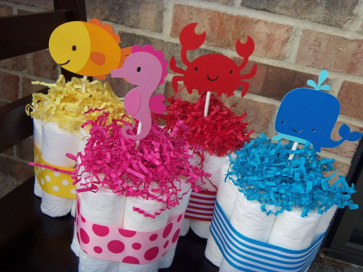 Perfect Diaper Cakes Under The Sea Theme Set Of 4 Small Cakes  Baby Shower  Gift/Centerpieces Via Etsy Boy Colors For Center Pieces.