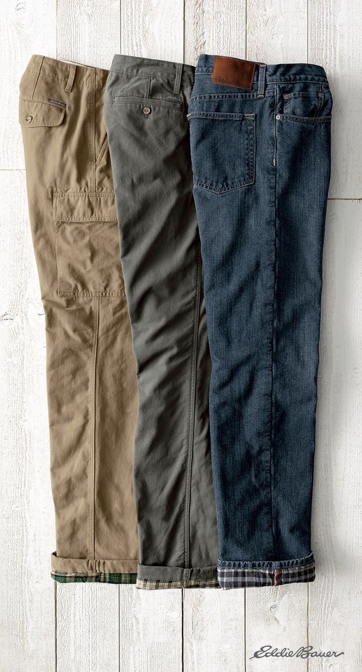 The ultimate pants for cold weather. Flannel lined jeans, pants, and cargo pants from Eddie Bauer