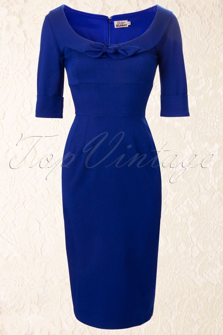 Glamour Bunny - 60s Joan Dress Deep Royal Blue Black or blue, blue or black? Oh what the hell....both colours