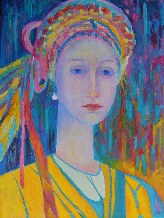 Polish Folk Girl  print on canvas. Modern oil by TanabeStudio