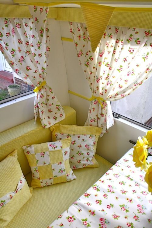 Love the yellow!! Cheery! This may be in a camper, but it is just adorable!! LOVE. WANT.