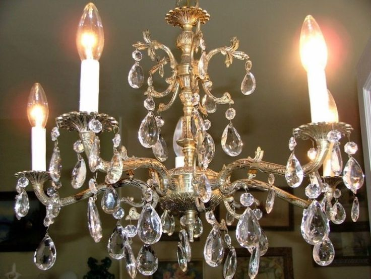 Watch Antique Brass Chandelier With Crystals