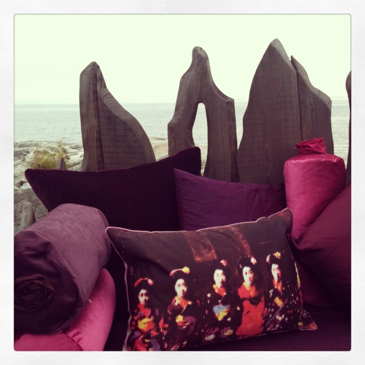 Love my sofa with the recycled Grey and  the Purple