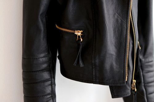 Black Jacket With Gold Zipper - More info