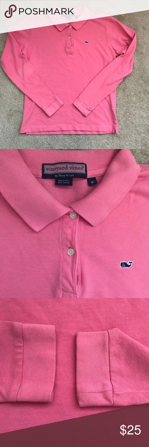 "Vineyard Vine's long sleeve polo shirt Vineyard Vine's long sleeve salmon pink polo shirt. Overall great condition, one small spot on the back of the arm, close to your elbow as picture shows. 100% cotton. Approximately 23"" long, 18"" chest, and 23.5"" arm. Vineyard Vines Tops Tees - Long Sleeve"