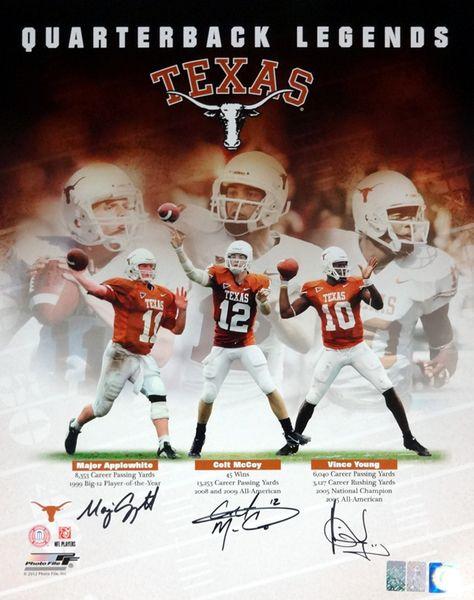 Vince Young, Colt McCoy & Major Applewhite Autographed 16x20 Photo Texas Longhorns Quarterbacks