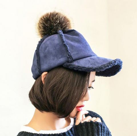 Khaki Suede spliced baseball cap for women Sherpa hats with pompom on top a14d5800c38