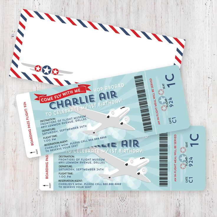Airplane Birthday Invitation Boarding Pass and Digital Airmail Envelope Template by HankandPetunia on Etsy https://www.etsy.com/listing/158185610/airplane-birthday-invitation-boarding