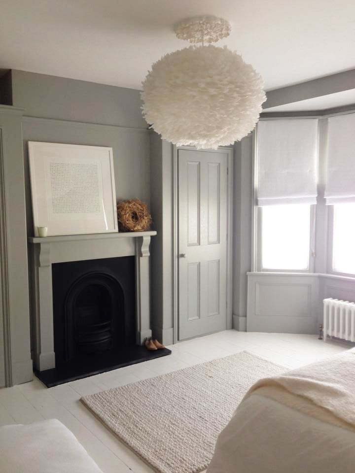 Grey walls and white floorboards
