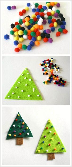 Easy Christmas Craft for Kids: Make a felt Christmas tree pin with pom poms! ~ BuggyandBuddy.com