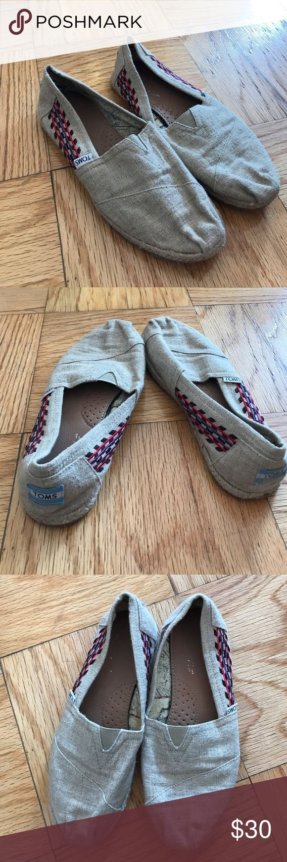 Burlap Toms with embroidered side detailing Burlap Toms with a beautiful & fun embroidered side detailing. Lightly worn. TOMS Shoes