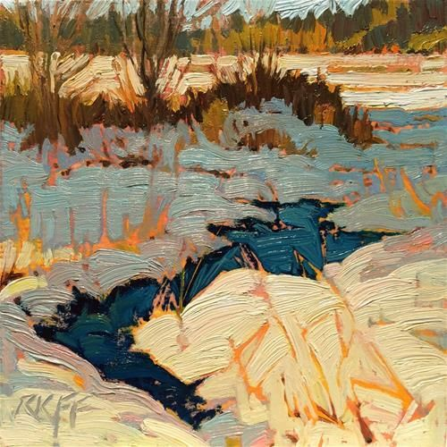 "Daily+Paintworks+-+""Snow+Thaw:+6x6+oil+on+panel""+-+Original+Fine+Art+for+Sale+-+©+Ken+Faulks"