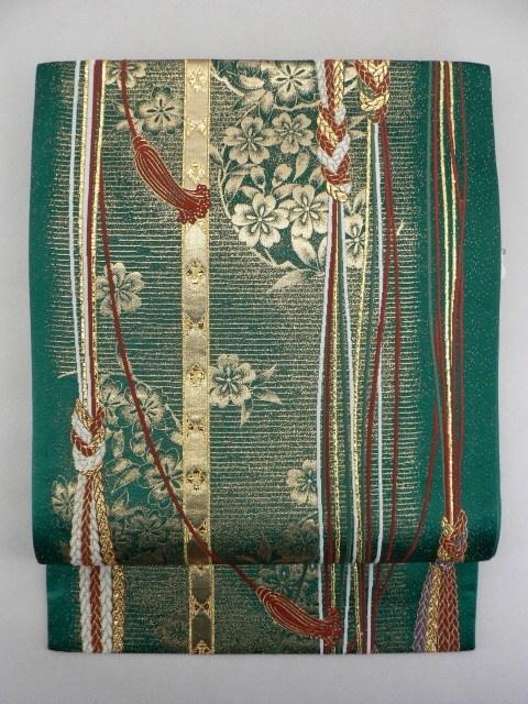 Deep Green Rokkaku Fukuro Obi, Rust Scarlet and Gold Stripes Pattern / 深緑地 錆朱と金の組紐縞柄 六通袋帯