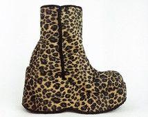 década de los 90 Mega plataforma cuña Fuzzy leopardo, botines, GOGO / / 7