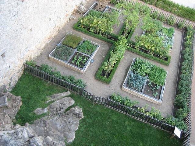 Jardin potager du château de Castelnaud - see the typical use of low boxwood hedges