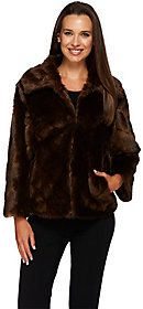 As Is Dennis Basso Platinum Chevron Cut Faux Fur Shrug Jacket