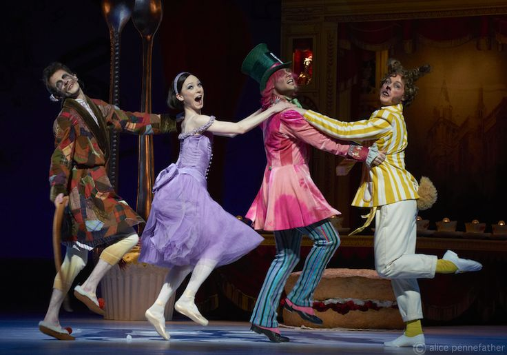 Sarah Lamb as Alice, Alexander Campbell as the Mad Hatter and Liam Scarlett as the March Hare - Royal Ballet