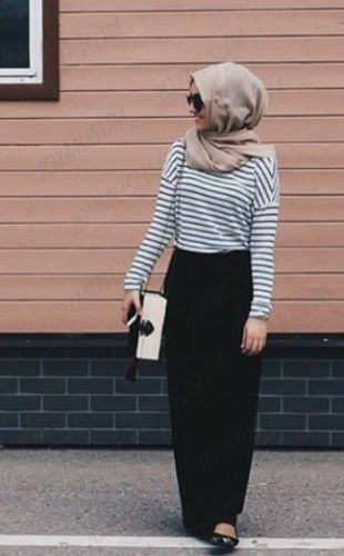 2016-Muslim-Woman-T-Shirt-Fashion-Stripped-Cloth-Loose-Relaxed
