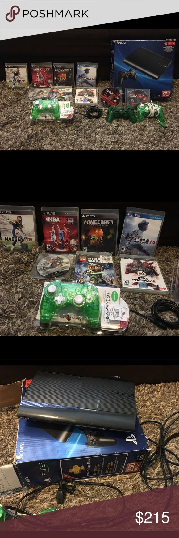 Ps3 16pc bundle package 16pc PS3 bundle for sale. You will recieve: 1 rocket candy green PlayStation 3 controller 1 rocket candy green PlayStation controller, used but still has the original box 1 wireless green PlayStation 3 controller 1 charging cord for the controller 1 power adapter 1 USB cord 1 PlayStation 3 console video game system MLB the show 2014 Minecraft NBA 2K13 Madden 15 NCAA football 2013 Lego Star Wars NCAA football 2012 NBA 2K16 – no case NBA 2K17 – no case sony Accessories