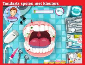 Tandarts spelen met kleuters op digibord of computer op kleuteridee, Kindergarten, educative games for IBW or computer