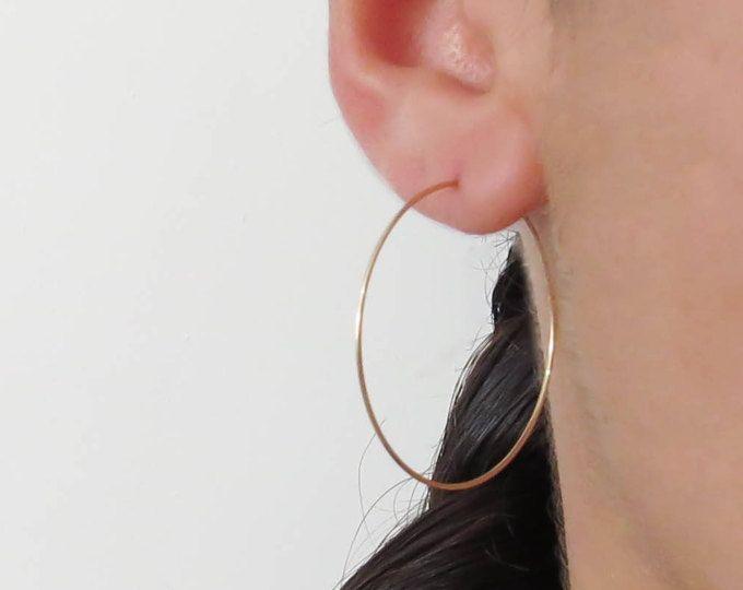 Gold Hoops Earrings Wire 14k Filled
