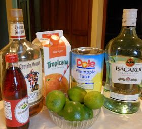 Easy rum punch made with dark and light rum