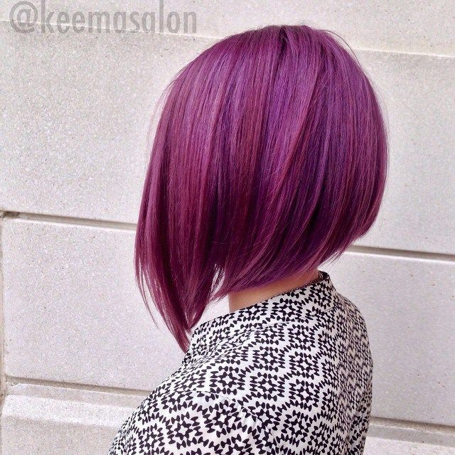 Purple Angled Bob Hairstyle for fall