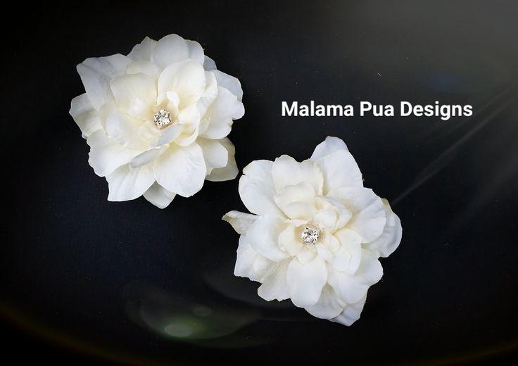 BRIDAL HAIR PINS, Hawaiian Delphinium, Tropical flower, Bridesmaid, silk hair flower, Headpiece, Crystal Center, Hair accessory, beach, hair by MalamaPua on Etsy